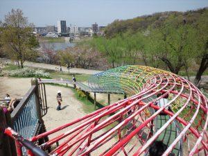 天白公園 滑り台の上